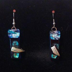 Jewelry - VINTAGE HANDMADE FUSED GLASS DICHROIC EARRINGS